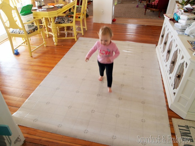Here is our linoleum remnant before we turned it into an awesome DIY Painted Linoleum Area Rug.