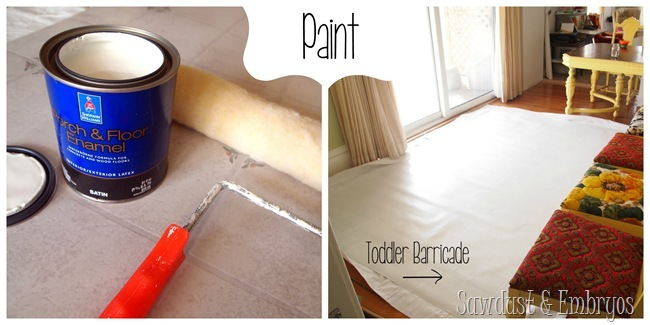 PAINT a sheet of linoleum to look like a gorgeous area rug for under your dining table!