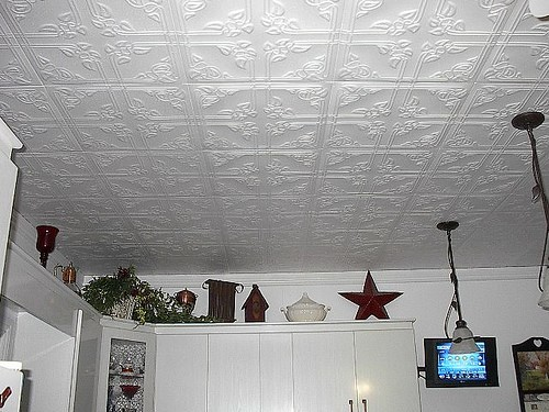 Install Glue-On Ceiling Tiles